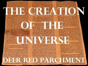 TORAH BIBLE SCROLL MANUSCRIPT RED PARCHMENT Genesis The creation of the universe