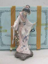 "Lladro Porcelain Figurine 1451 Teruko Japanese Geisha with Parasol Lovely 10.5"""