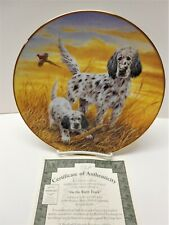"""New In Box, English Setter Collectors Limited Edition Plate """"On The Right Track"""""""