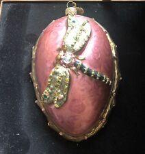 "Mib 2002 Large 6"" Jay Strongwater Signed Swarovski Crystal Dragonfly Ornament"