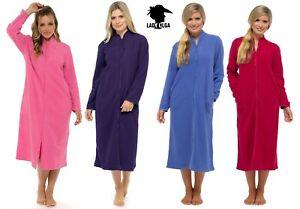 New Ladies Lady Olga Zip Warm Soft Fleece Dressing Gown House Coat Robe