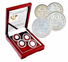 """Stalin's """"Death Sentence"""" Coins Historic Russian 4 Silver Coin Set,Boxed & Story"""