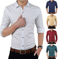 Men's Casual Slim Fits Printed Long Sleeve Button Down Business Shirt Top Charm