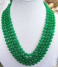 """8MM Green chalcedony Gemstone Round beads Necklace 100"""" Hand Knotted"""
