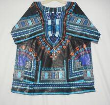 African Men Women Dashiki Shirt Hippie Ethnic Top Vintage Blouse Poncho S M L XL