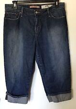 Womens Levis 515 Plus Size 16 Capri Cropped Cuffed Jeans Distressed Denim