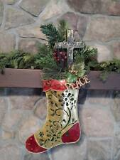 "23"" GOLD Metal Christmas Stocking WOOD CROSS Pine BERRY Cedar PEACE Wall Swag"