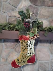 "23"" GOLD Metal Christmas Stocking WOOD CROSS Pine BERRY Cedar PEACE Wall Swag"