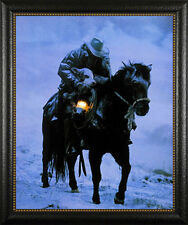"Winter Save David Stoecklein Western Horse 2.5"" wide Framed Picture Print Poster"