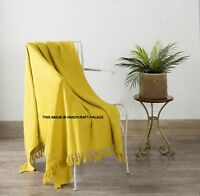 Indian Mud cloth Bed Sofa Throw Yellow Solid Print Cosy Fringed Blanket Bedding