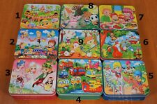 80 pcs Wooden Jigsaw Puzzle in Tin Box Children Kids Educational Toy Gift