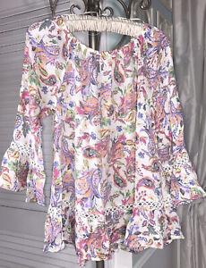 NEW S M White Blouse Peasant Pink Purple Spense Top Paisley Shirt