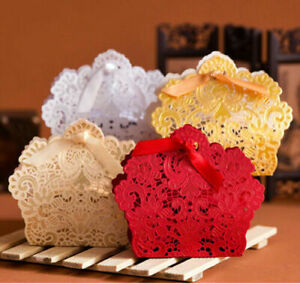 10pcs Lace Laser Cut Cake Candy Favor Ribbon Gift  Candy Boxes Wedding Party New