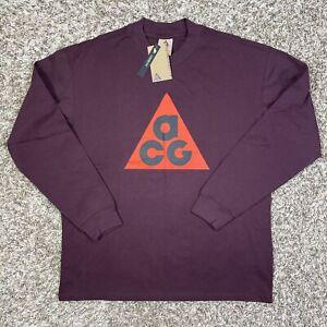 Nike ACG Long Sleeve Shirt Burgundy Size Medium Mens Cotton