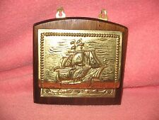VINTAGE BRASS & WOOD WALL MOUNTED LETTER HOLDER WITH SHIP-MADE IN ENGLAND
