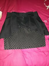 ATMOSPHERE PRIMARK BLACK POLKA DOT PEPLUM SKIRT very good used cond