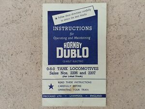 Hornby Dublo 2 rail operating instructions for 060 Tank locomotive Original