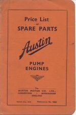 Austin Eight 8 Pump Engine original Price List of Spare Parts July 1939 Pub 1828