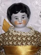 """Victorian China Doll German Cloth Body Clothing  8"""" Hand Painted Antique"""
