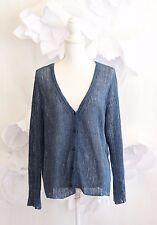 EILEEN FISHER Pointelle Knit Cardigan Sweater Sz 1X Italian Linen Blue LS