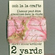 easter rabbit pink gift wrap shabby french chic trim vintage stamped Muslin  694