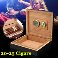 Cigar Humidifier Storage Travel Case Box+Humidor Hygrometer Cedar Wood Lined
