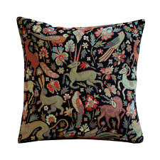 Tapestry Mythical Animals Black Cushion Double Sided Morris Style Design. 17x17""