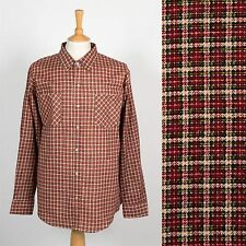 VINTAGE RETRO MENS CHECK SHIRT SNAP FASTEN BRUSHED COTTON WESTERN COWBOY L