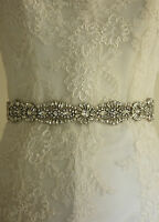 Wedding Bridal Dress Belt Thin Ivory Ribbon Vintage Sparkle Diamante B112