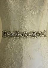 Wedding Bridal Dress Belt Thin Ivory Ribbon Vintage Sparkle Diamante B112