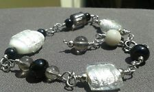 Handmade Silver Wire Wrapped Chain Bracelet With Murano Glass Beads