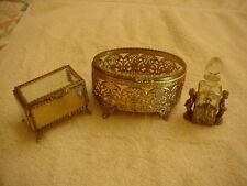 Vintage Dresser Set: Gold Ormolu Bevel Glass, Lot of 3
