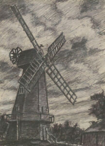 Henry E. Foster (1921-2010) - 1980 Charcoal Drawing, Sussex Windmill