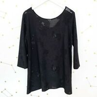 Clara Sun Woo Top Sz XL Black Perforated Oversized Stretch Knit Tunic Sleeves