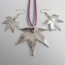 real japanese maple leaf silver leaf pendant and earring set gift boxed