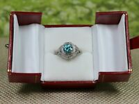 Natural Teal Blue Zircon 14K Solid White Gold Diamond Ring