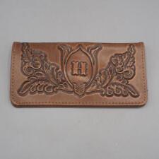 """Vintage Leather Wallet Billfold Checkbook Holder Monogrammed """"H"""""""