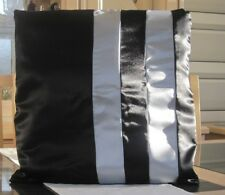 BLACK AND SILVER SATIN DESIGN CUSHION COVER