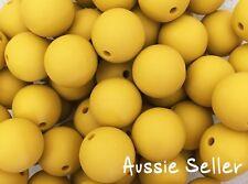 10 silicone beads MUSTARD YELLOW 15mm round BPA free sensory DIY necklace kids