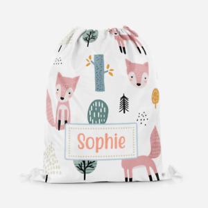 Personalised Cute Cartoon Fox Girls Kids Drawstring Bag PE Swimming School Bag