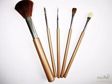 HIGH QUALITY Cosmetic 5 PIECE MAKE-UP BRUSH SET with NATURAL and SYNTHETIC HAIR