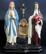 Chalkware Double Shrine Lady of Lourdes Saint Theresa Font P.S. Co. Phila 1925