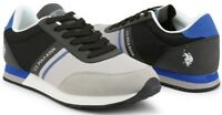U.S. Polo Assn. Wilys Men's Sneakers Shoes In Grey & Black Fabric Leather NEW
