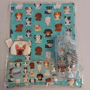 dog gift bundle back to school drawstring bag pencil case kid water bottle purse