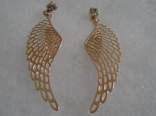 18 kt Gold Filled Angel Wings with Clear  Stone Stud Earrings