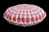 """Indian Mandala Pom Lace Floor Pillow Cover Ottoman Round Poof Ethnic Decor 32"""""""