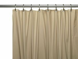 "LINEN/BEIGE Vinyl Shower Curtain Liner: Metal Grommets, Magnets, 72"" Long"