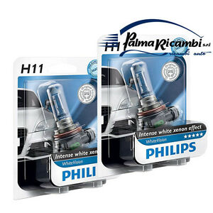 H11 PHILIPS WHITE VISION INTENSE WHITE XENON EFFECT BIANCO Duo Pack 2 PZ. NUOVO