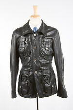 Mens JUST CAVALLI Leather Jacket IT50 S Charcoal Black Patch Pocket Safari Style
