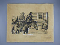 Nathaniel P. Steinberg Original Book Illustration Drawing Cowboy Listed Artist